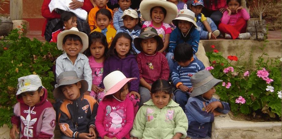 Children outside their rural school