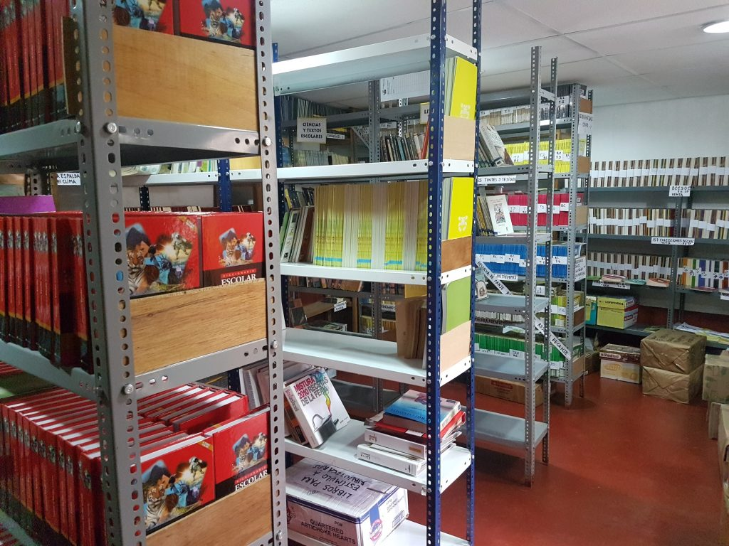 The storage room at the Rural Libraries project, housing many materials.