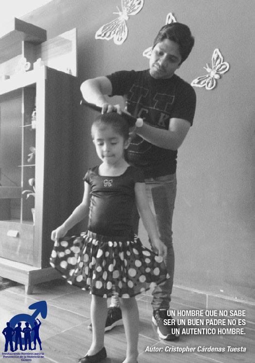 father brushing daughter's hair