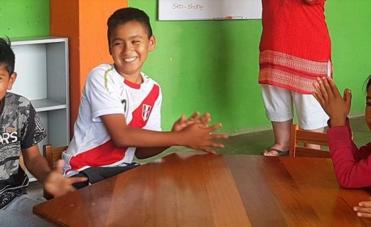 Children in a Peruvian classroom
