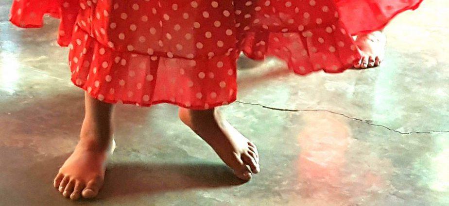 A closeup of a girl's feet, while she dances