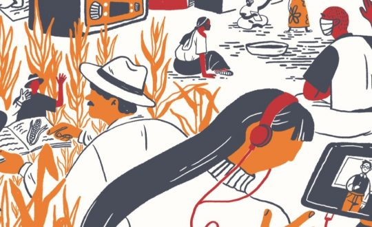 drawing of campesinos reading and a woman listening to an ipod lecture