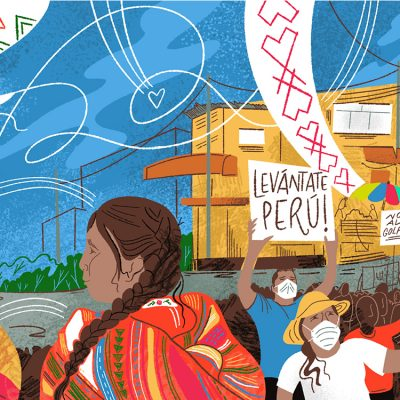 illustration of Peruvians marching for democracy with Centro Santa Angela office in the background