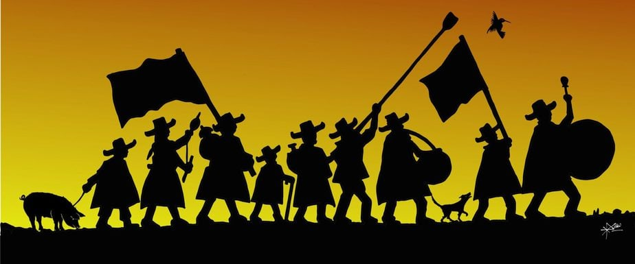 silhouette of a parade by rural Andean people