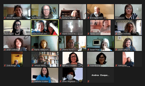 screenshot of 23 people in a zoom meeting, galllery view showing faces and names