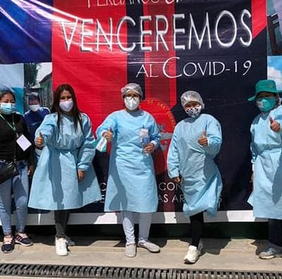 health brigade in PPE in Zaña