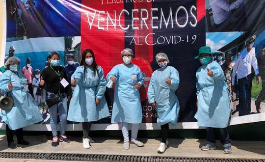 health brigade in PPE in Zaña